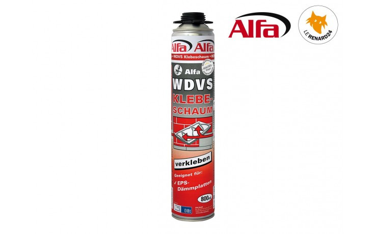 612 ALFA - Mousse polyuréthane de collage EPS 800 ml pour pistolet
