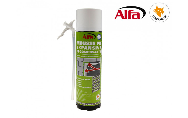 ALFA - Mousse PU expansive bi-composants 400ml manuelle