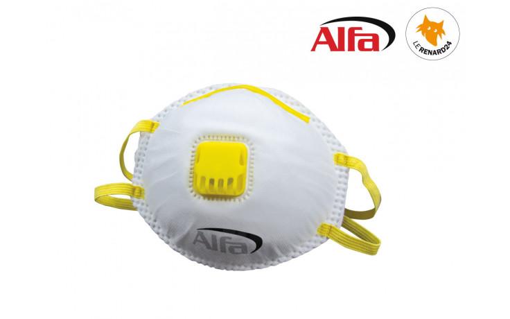 Masque de protection poussières fines FFP1 avec soupape et harnais de tête en coton