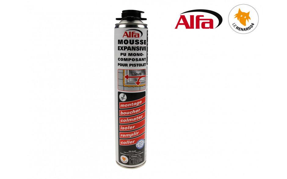 ALFA - Mousse PU expansive monocomposant 750ml pour pistolet