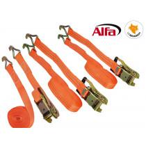 978 ALFA - Sangle d'arrimage 2 parties avec cliquet et crochet pointu